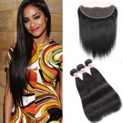 Beauty Princess Peruvian Straight Hair with Frontal Closure(13×4)100% Unprocessed Vigin Straight Hair weave 3 Bundles with ear to ear Lace Frontal Closure Natural Colour.