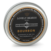 Lovely Beards - 100% Organic & Natural, Unrefined COLD PRESSED Beard Balm, Easy-to-Use -Thickens, Restores & Tames - Bourbon Scent