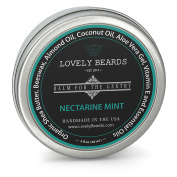 Lovely Beards - 100% Organic & Natural, Unrefined COLD PRESSED Beard Balm, Easy-to-Use -Thickens, Restores & Tames - Nectarine/Mint Scent