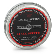Lovely Beards - 100% Organic & Natural, Unrefined COLD PRESSED Beard Balm, Easy-to-Use -Thickens, Restores & Tames - Black Pepper Scent