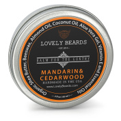 Lovely Beards - 100% Organic & Natural, Unrefined COLD PRESSED Beard Balm, Easy-to-Use -Thickens, Restores & Tames - Mandarin/Cedarwood Scent