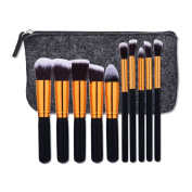 AMarkUp 10 Pcs Makeup Brush Sets Premium Synthetic Kabuki Powder Foundation Blush Brushes with Storage Bag