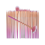 Kasla 20 Pieces Makeup Brush Set Professional Face Eye Shadow Eyeliner Foundation Blush Powder Liquid Cream Cosmetics Blending Unicorn Brushes Kit