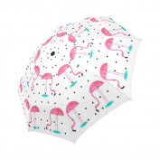 Funny Pink Flamingo Polka Dot Umbrella - Compact Travel Umbrella with Windproof Lightweight Automatic Foldable