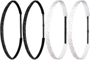 Ivybands Mom & Kids Edition   2 Pack   Black Glitter SuperThin   White Coloured Spots of Non-Slip Headband for Mum/Mother and Child/Baby   Professional Kids Detangling Band   (1.6 cm wide)   IAMKID014 IAMKID035