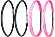 Ivybands Mom & Kids Speed Edition   2 x Pack of 2 Candy Pink Black Glitter SuperThin   Non-Slip Headband for Mum/Mother and Child/Baby   Professional Kids Detangling Duct Tape (4.1cm Wide)   IAMKID008 IAMKID035