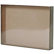 JAM Paper Gift Box - 13cm x 18cm x 2.5cm - Clear Top with Brown Bottom - Sold individually