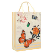 Elegant Designed Ivory White Floral Butterfly Small Gift Bag's 23cm x 18cm x 10cm | 4-Pack