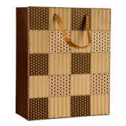 Intricate Designed Mocha Brown Chequered Quilt Print Small Gift Bag's 23cm x 18cm x 10cm | 30-Pack