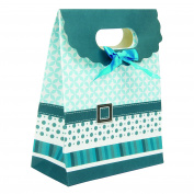 Intricate Designed Small Carolina Blue Buckle Bow Gift Bag's 16cm x 13cm x 6.4cm | 4-Pack