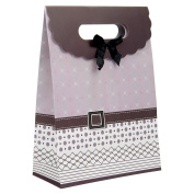 Intricate Designed Medium Mauve Brown Buckle Bow Gift Bag's 27cm x 19cm x 8.9cm | 12-Pack