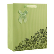 Elegant Designed Fern Green Floral Lace Print Small Gift Bag's 23cm x 18cm x 10cm | 4-Pack
