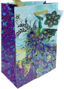 Punch Studio Gold Foil Embellished Small Gift Bag ~ Blue Blossom Peacock 64786