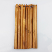 12 Sizes Carbonised Bamboo Handle Crochet Hooks Knit Weave Yarn Craft Knitting Needle