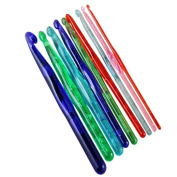 9 PCS/set Multi-colour Plastic Transparent Craft Knit Crochet Hooks Knitting Needles Weave Craft 3.0mm-12.0mm