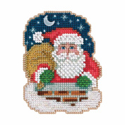 Down the Chimney Beaded Counted Cross Stitch Christmas Ornament Kit Mill Hill 2017 Winter Holiday MH181731