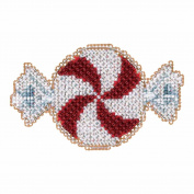 Peppermint Candy Beaded Counted Cross Stitch Christmas Ornament Kit Mill Hill 2017 Winter Holiday MH181732