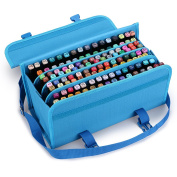 BTSKY New 120 Slots Marker Case Lipstick Organiser--Canvas Markers Holder for for Primascolor Markers and Copic Sketch Markers