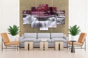Waterfall River Flow Autumn Purple - 5 piece Canvas