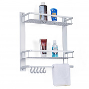 Bathroom Aluminium Storage Shelf Basket 2-Tier with Hooks Wall Mount Towel Bars