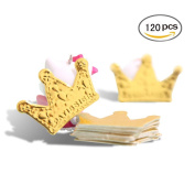 Crazy Mary 120 Pcs Gold Glitter Crown Card Cake Cupcake Toppers Birthday Wedding Party Picks Baby Bridal Shower Decoration Card