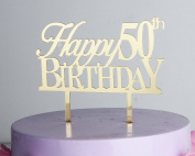 LOVELY BITON Gold Happy 50th Birthday Cake Topper Shining Numbers Letters for Wedding, Birthday, Anniversary, Party.