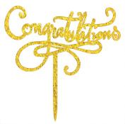 Congratulations Cake Topper Gold Glitter Party Supplies Decor