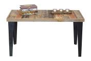 DAKODA LOVE Rustic Barnwood & Metal Coffee Table, Multi-Coloured