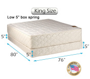"""Dream Solutions USA Grandeur Deluxe King Size (190cm x 200cm x 12"""") Mattress and Low 13cm Height Box Spring Set - Fully Assembled, Good for your back, Luxury Height, Long Lasting and 2 Sided"""