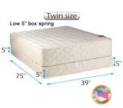 """Dream Solutions USA Grandeur Deluxe Twin Size (100cm x 190cm x 12"""") Mattress and Low 13cm Height Box Spring Set - Fully Assembled, Good for your back, Luxury Height, Long Lasting and 2 Sided"""