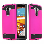 LG G Stylo Case, ARSUE Hybrid Perfect Fit Flexible Inner Rubber Silicon Protective Hard Bumper Frame Plastic Brushed Metal Design Case Covers for LG G Stylo/LG G4 Stylus/ LG LS770,Hot Pink