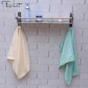 TAPCET Bathroom Stainless Steel Rectangular Shelf Wall Mounted Tempered Bathroom Single Layer Shelf 40cm 50cm with Hook