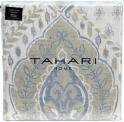 Tahari Home Beige Metallic Silver or Gold Accents Vintage French Damask Paisley Medallions 3pc Duvet Cover Set Antique Bothe Style Bohemian Dusty Blue