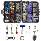 Shaddock Fishing 172pcs/box Fishing Accessories Tackle Box Set, Including Circle Hooks, Treble Hooks, Egg Sinker Weights, Ball Bearing Swivels, Sinker Slides, Stainless Steel Split Rings