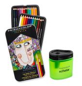 Prismacolor Premier Soft Core Coloured Pencil, Set of 24 Assorted Colours (3597T) + Prismacolor Scholar Coloured Pencil Sharpener