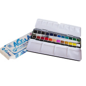 AQUAnaut watercolours - 24 Colour Half-pans - Large 8ml Refillable Water Brush - Metal Tin And Palette In a Durable Travel Design