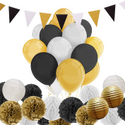 Paxcoo 69 Pcs Black and Gold Tissue Paper Pom Poms Lantern with Balloons and Triangle Flag Banner for Birthday Party Decorations