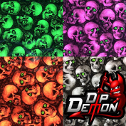 MINI GREEN EYED SKULLS HYDROGRAPHIC WATER TRANSFER FILM HYDRO DIPPING DIP DEMON