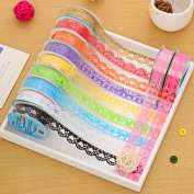 Kangkang@ 12 Roll Lace Style Decorative Washi Tape Sticky Paper for Scrapbooking Phone Notebook DIY Decoration Random Colour Pattern