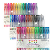 My Colour Store 120 Glitter Gel Pens Set 60 Unique Colour (No Duplicates) Glitter Pens + 60 Glitter Gel Ink Refills Gel Pens for Adult Colouring Books Journals to Write In Small Notebook Art Markers