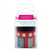 Capsule Spots + Stripes Brights Patterned Craft/Gift Wrap Coloured Sticky Tape