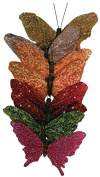 8 Glitter and Feathered Artificial Butterflies with Attached Wires for Easy Displaying