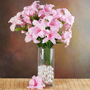 Efavormart 54 EXTRA LARGE Lilies Artificial Lily Flowers - 6 bushes - Pink