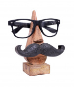 Purpledip Wooden Spectacles Stand Glasses Holder 'Moostachio'