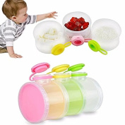 BPA Free Stackable 3 Compartments Formula Milk Powder Dispenser Snack Container for Baby Feeding Multipurpose Stackable Container No-spill for Travel Easy To Carry with