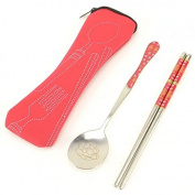 Toddler Durable Stainless Spoons and Chopsticks set with Travel Storage Bag for Preschool Dishware. Kid Cultery Utensil Kit Baby Feeding Accessories