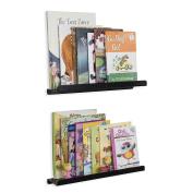 Wall Mount Kids' Room 43cm Floating Shelves Bookcase Display Ledges Set of 2 Black