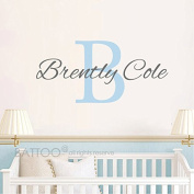 BATTOO Nursery Custom Name and Initial Wall Decal Sticker, Boy Name, Girl Name Wall Decal, Personalised Girls Name Decor, Nursery Bedroom Vinyl Decal Baby Room Decor