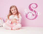 Nursery Pink Sparkle Initial Custom Name Wall Decal Sticker, 60cm W by 70cm H, Girl Name Wall Decal, Girls Name, Personalised, Name Decor, Girls Nursery, Girls Bedroom, PLUS FREE WHITE HELLO DOOR DECAL