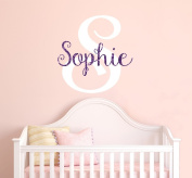 Nursery Purple Sparkle Custom Name Wall Decal Sticker, 41cm W by 46cm H, Girl Name Wall Decal, Girls Name, Personalised, Name Decor, Girls Nursery, Girls Bedroom, PLUS FREE WHITE HELLO DOOR DECAL